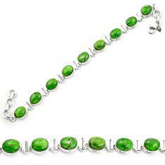 Natural green chrome diopside 925 sterling silver tennis bracelet m53679
