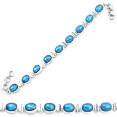 Natural blue apatite (madagascar) 925 sterling silver tennis bracelet m53711