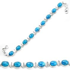 Natural blue apatite (madagascar) 925 sterling silver tennis bracelet m53713