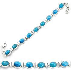 Natural blue apatite (madagascar) 925 sterling silver tennis bracelet m53714