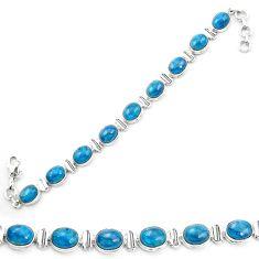 Natural blue apatite (madagascar) 925 sterling silver tennis bracelet m53715