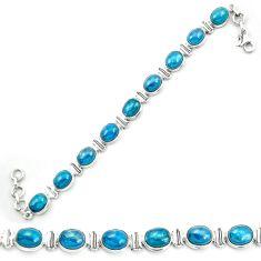 Natural blue apatite (madagascar) 925 sterling silver tennis bracelet m53716