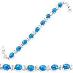 Natural blue apatite (madagascar) 925 sterling silver tennis bracelet m53717