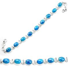 Natural blue apatite (madagascar) 925 sterling silver tennis bracelet m53718