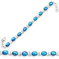 925 sterling silver natural blue apatite (madagascar) tennis bracelet m53719