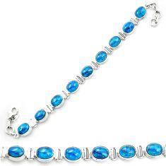 Natural blue apatite (madagascar) 925 sterling silver tennis bracelet m53720