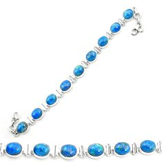 Natural blue shattuckite 925 sterling silver tennis bracelet jewelry m58581