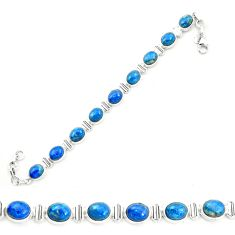 Natural blue shattuckite 925 sterling silver tennis bracelet jewelry m58582