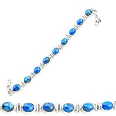 Natural blue shattuckite 925 sterling silver tennis bracelet jewelry m58583