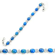 Natural blue shattuckite 925 sterling silver tennis bracelet jewelry m58585