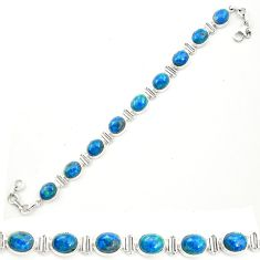 Natural blue shattuckite 925 sterling silver tennis bracelet jewelry m58586
