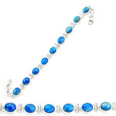 Natural blue shattuckite 925 sterling silver tennis bracelet jewelry m58587