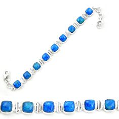 Natural blue shattuckite 925 sterling silver tennis bracelet jewelry m58590