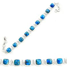 Natural blue shattuckite 925 sterling silver tennis bracelet jewelry m58591
