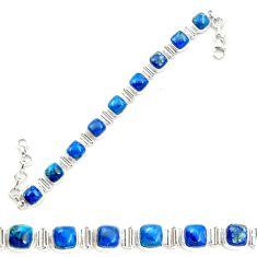 Natural blue shattuckite 925 sterling silver tennis bracelet jewelry m58592