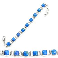 Natural blue shattuckite 925 sterling silver tennis bracelet jewelry m58594