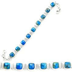 Natural blue shattuckite 925 sterling silver tennis bracelet jewelry m58595