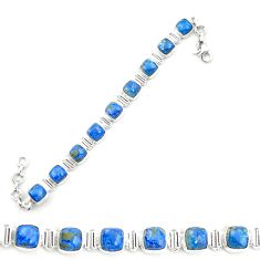 Natural blue shattuckite 925 sterling silver tennis bracelet jewelry m58596