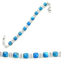 Natural blue shattuckite 925 sterling silver tennis bracelet jewelry m58597