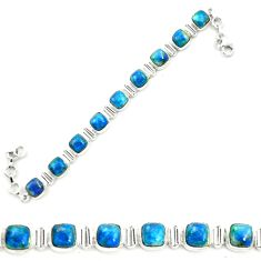 925 sterling silver natural blue shattuckite tennis bracelet jewelry m58598