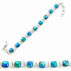 Natural blue shattuckite 925 sterling silver tennis bracelet jewelry m58599