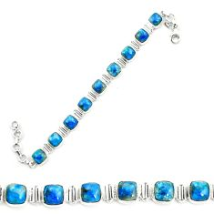 925 sterling silver natural blue shattuckite tennis bracelet jewelry m58600