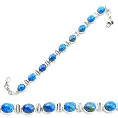 Natural blue shattuckite 925 sterling silver tennis bracelet jewelry m58601