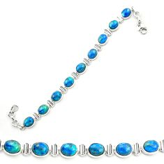 Natural blue shattuckite 925 sterling silver tennis bracelet jewelry m58602