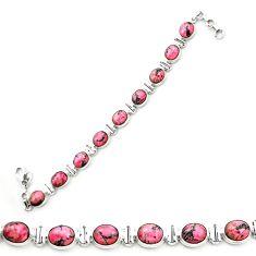 Natural pink rhodonite in black manganese 925 silver tennis bracelet m58603