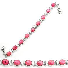 925 silver natural pink rhodonite in black manganese tennis bracelet m58604