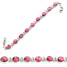 Natural pink rhodonite in black manganese 925 silver tennis bracelet m58605