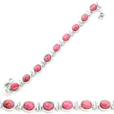 Natural pink rhodonite in black manganese 925 silver tennis bracelet m58607