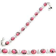 Natural pink rhodonite in black manganese 925 silver tennis bracelet m58608