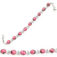 925 silver natural pink rhodonite in black manganese tennis bracelet m58609