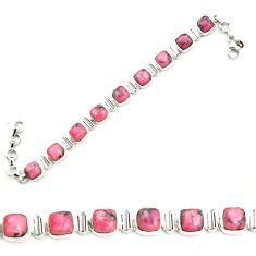 Natural pink rhodonite in black manganese 925 silver tennis bracelet m58610