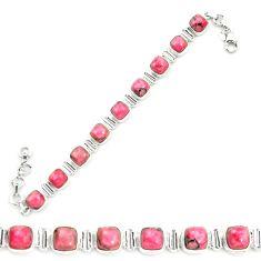 Natural pink rhodonite in black manganese 925 silver tennis bracelet m58611