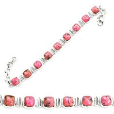 Natural pink rhodonite in black manganese 925 silver tennis bracelet m58612