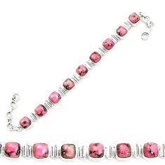 Natural pink rhodonite in black manganese 925 silver tennis bracelet m58613
