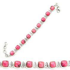 925 silver natural pink rhodonite in black manganese tennis bracelet m58614