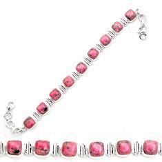 Natural pink rhodonite in black manganese 925 silver tennis bracelet m58615