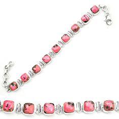 Natural pink rhodonite in black manganese 925 silver tennis bracelet m58616