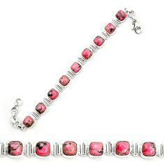 Natural pink rhodonite in black manganese 925 silver tennis bracelet m58617
