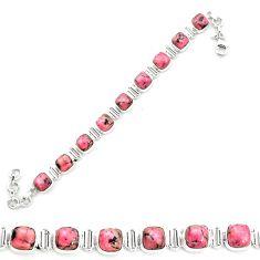 Natural pink rhodonite in black manganese 925 silver tennis bracelet m58618
