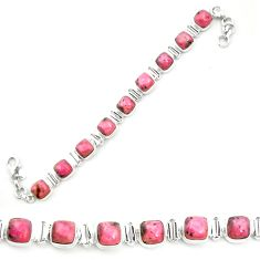 925 silver natural pink rhodonite in black manganese tennis bracelet m58619