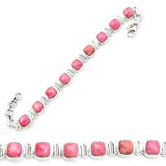 Natural pink rhodonite in black manganese 925 silver tennis bracelet m58620