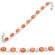 Natural orange sunstone (hematite feldspar) 925 silver tennis bracelet m61725