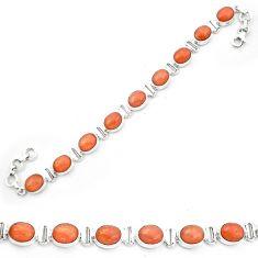 Natural orange sunstone (hematite feldspar) 925 silver tennis bracelet m61726