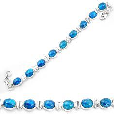 925 sterling silver natural blue apatite (madagascar) tennis bracelet m61729