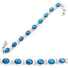 Natural blue apatite (madagascar) 925 sterling silver tennis bracelet m61730