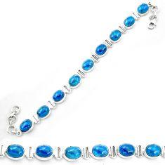 Natural blue apatite (madagascar) 925 sterling silver tennis bracelet m61731